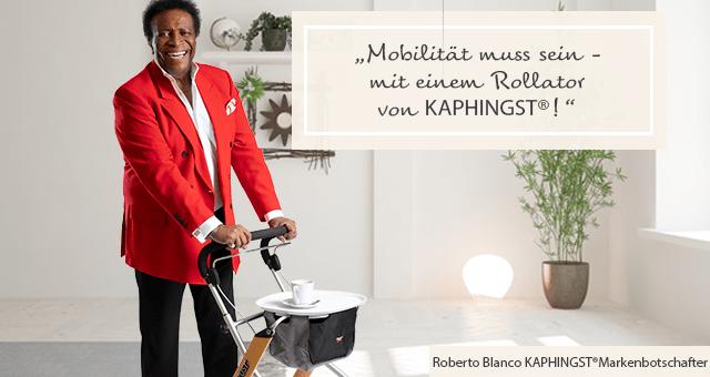 Roberto Blanco: Mobilität muss sein, mit einem Rollator von Kaphingst