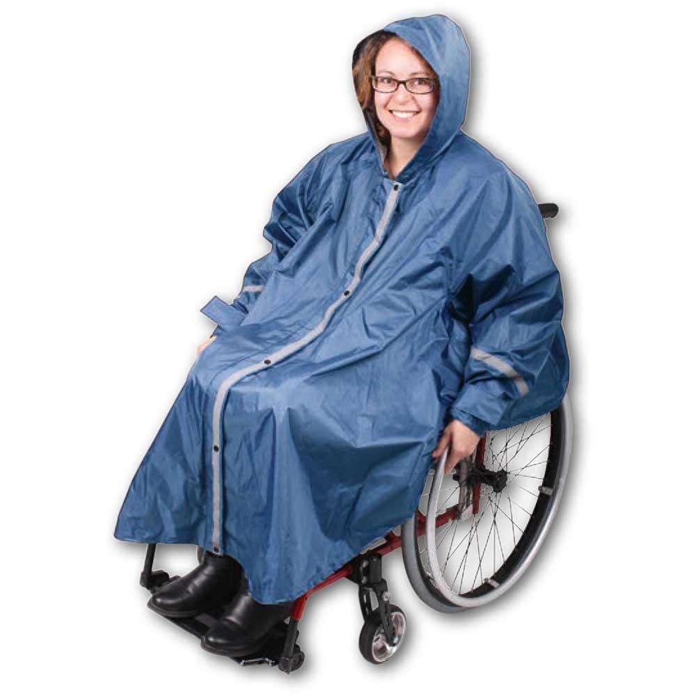 Rolko RainPRO Active Rollstuhl Regencape mit Kapuze, Ärmeln und Innentasche