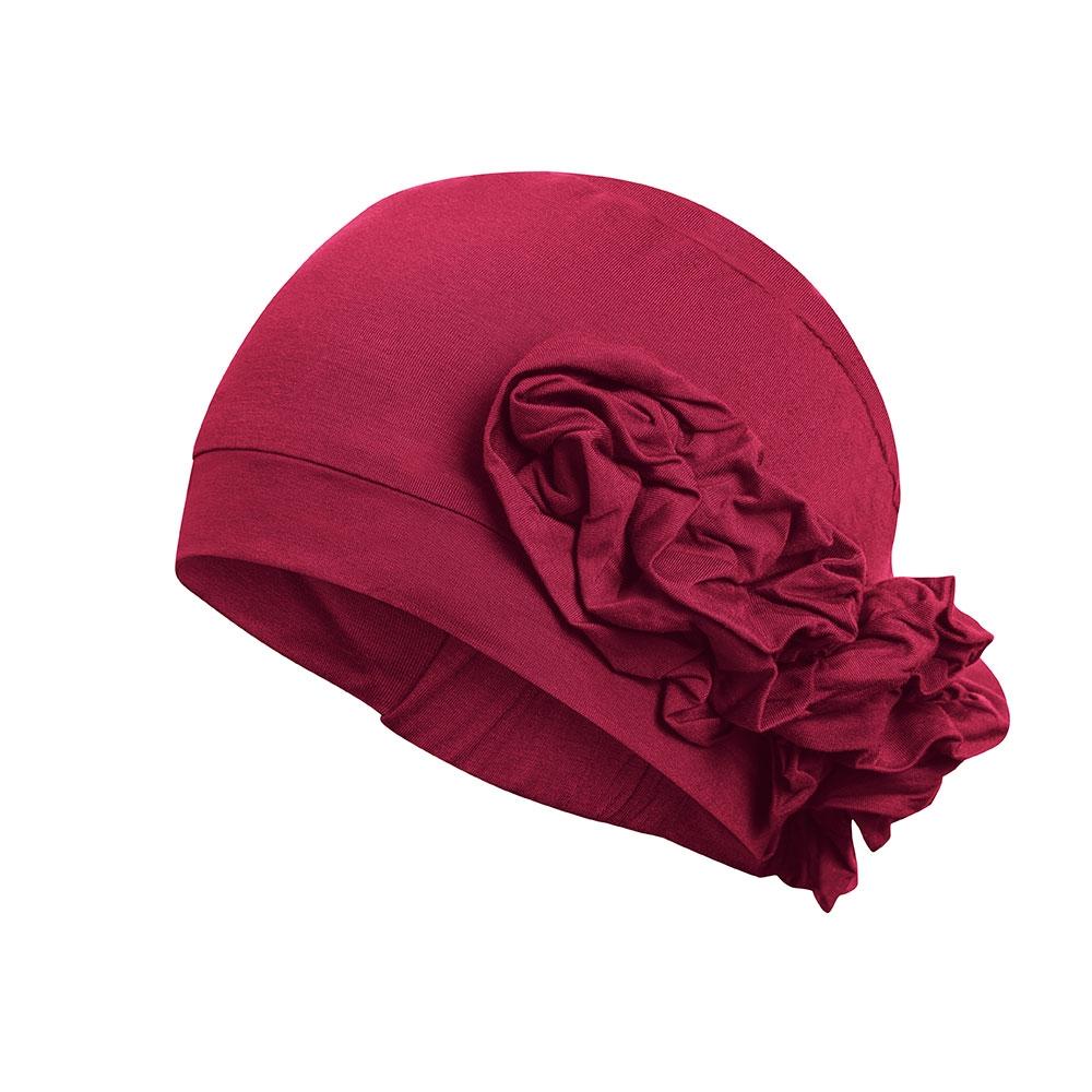 Die Chemo-Kopfbedeckung Marigold mit seitlichem Blüten-Detail