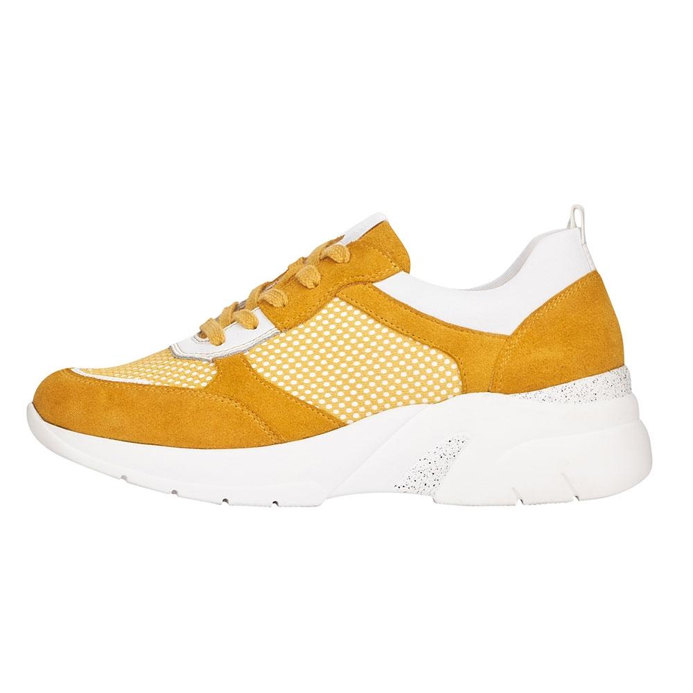 gelb| Remonte Damen Soft Sneaker Yellow - Ansicht Außenkante