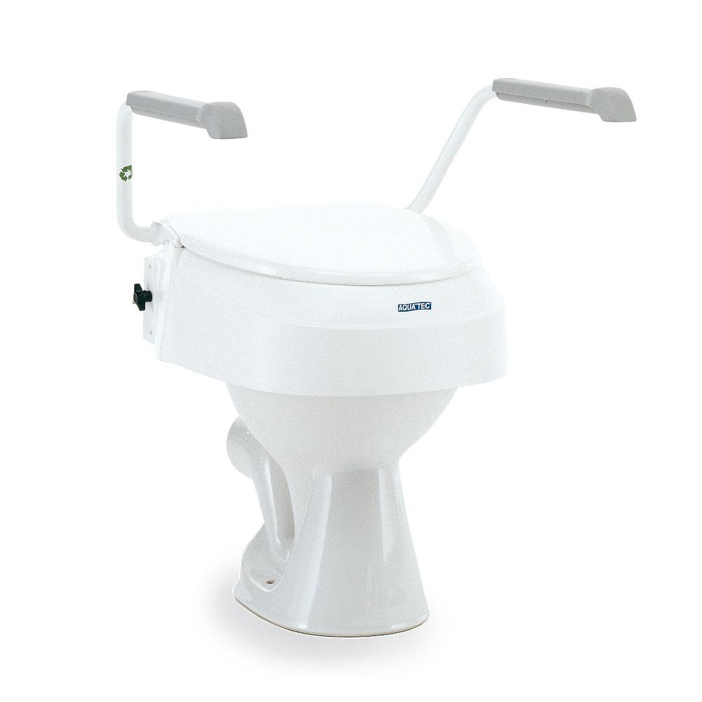 Invacare Toilettensitzerhöhung AQUATEC 900 mit Armlehnen, Sitzhöhe lässt sich einstellen, Farbe: Weiß