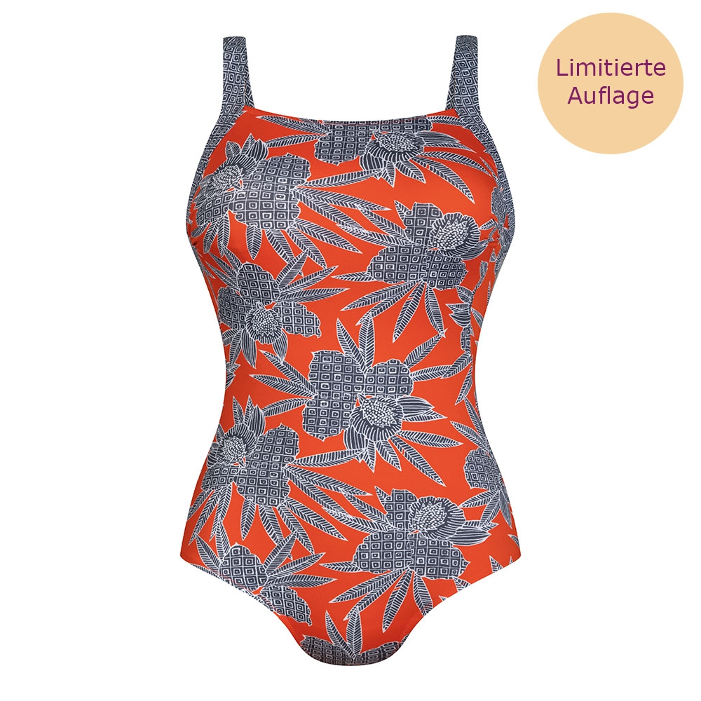 orange| Anita care Ventura Bahia Floral Prothesenbadeanzug Farbe: Papaya, Muster: Blüten