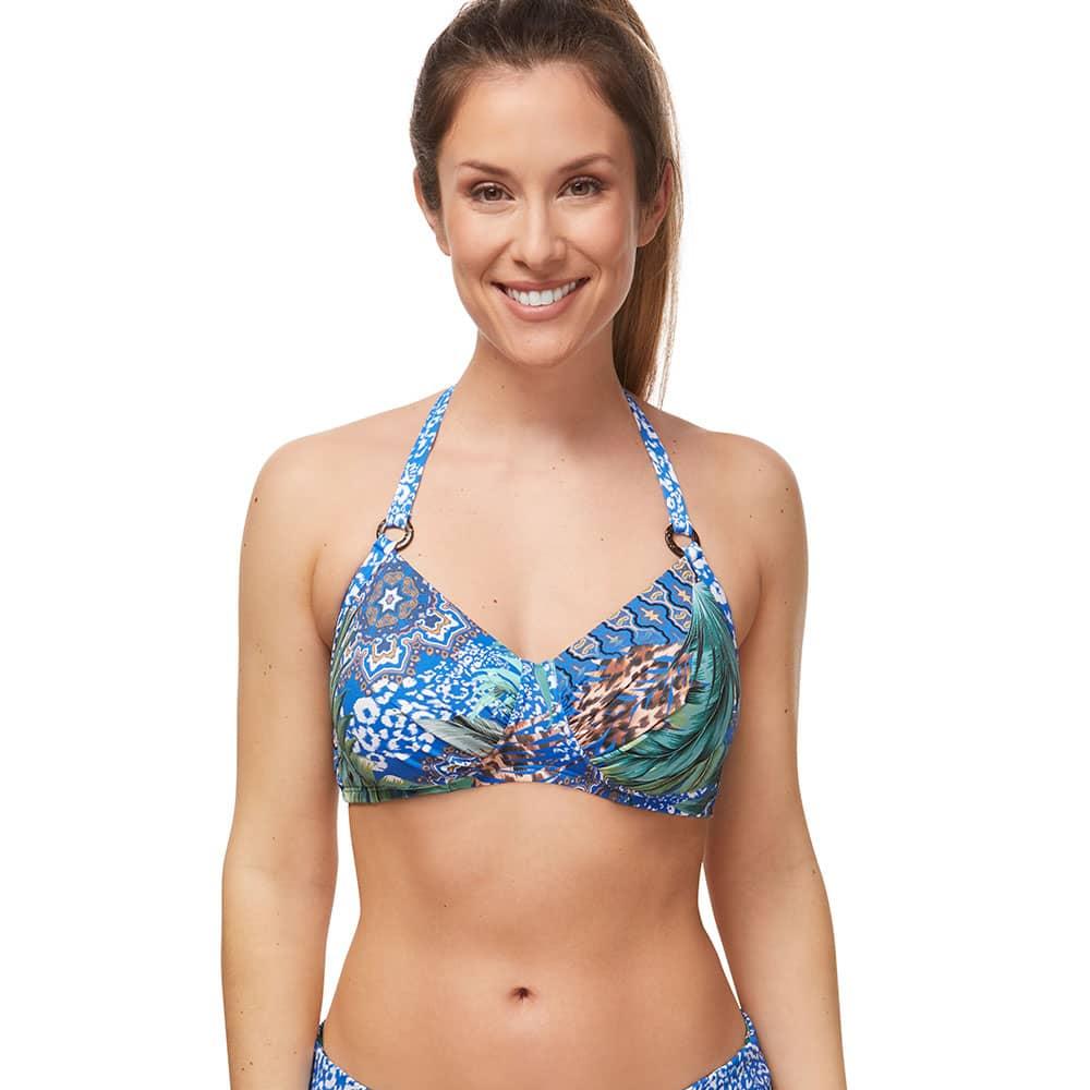Amoena Bikini-Top City Safari Jungle Blue - Neckholder vorne