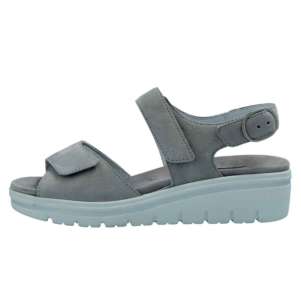 grau| Bequeme Semler Leder Sandalen für Damen in Perle Hellgrau