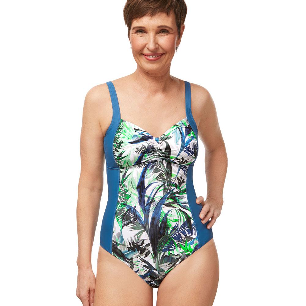 Amoena Modern Jungle HB Badeanzug blau grün Ansicht Model vorne