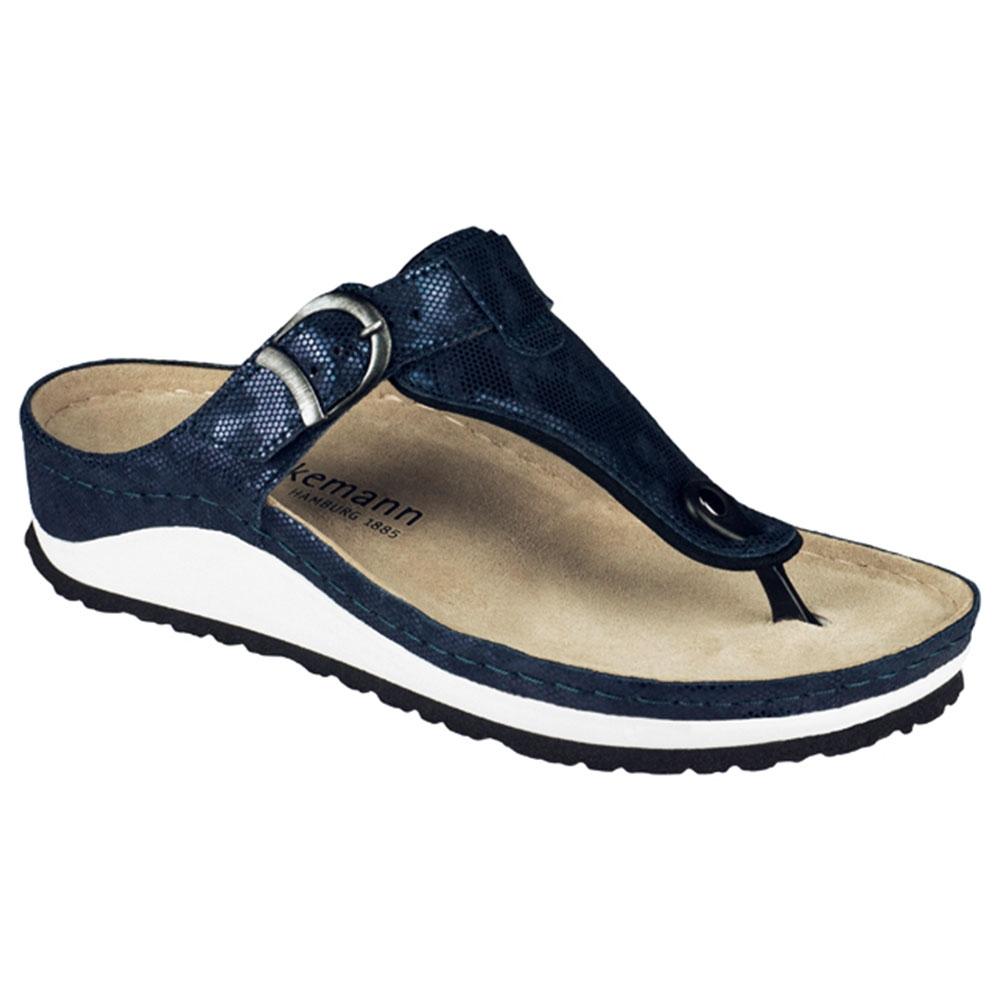 blau| Berkemann Pantolette Mila Echse Blau mit Zehensteg