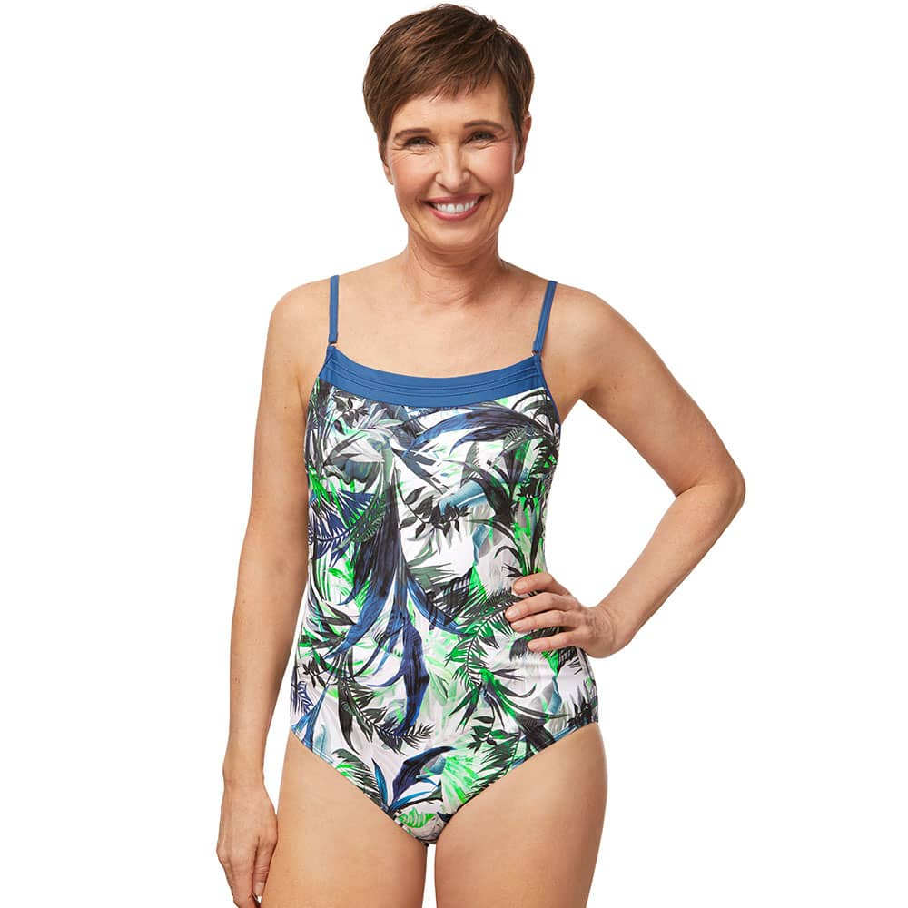 Amoena Modern Jungle OP Badeanzug blau grün Ansicht Model vorne