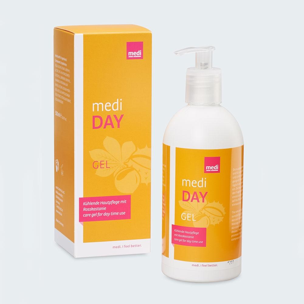 medi day kühlendes Pflegegel für die Haut, bereitet auf das Tragen der Kompressionsstrümpfe am Tag vor
