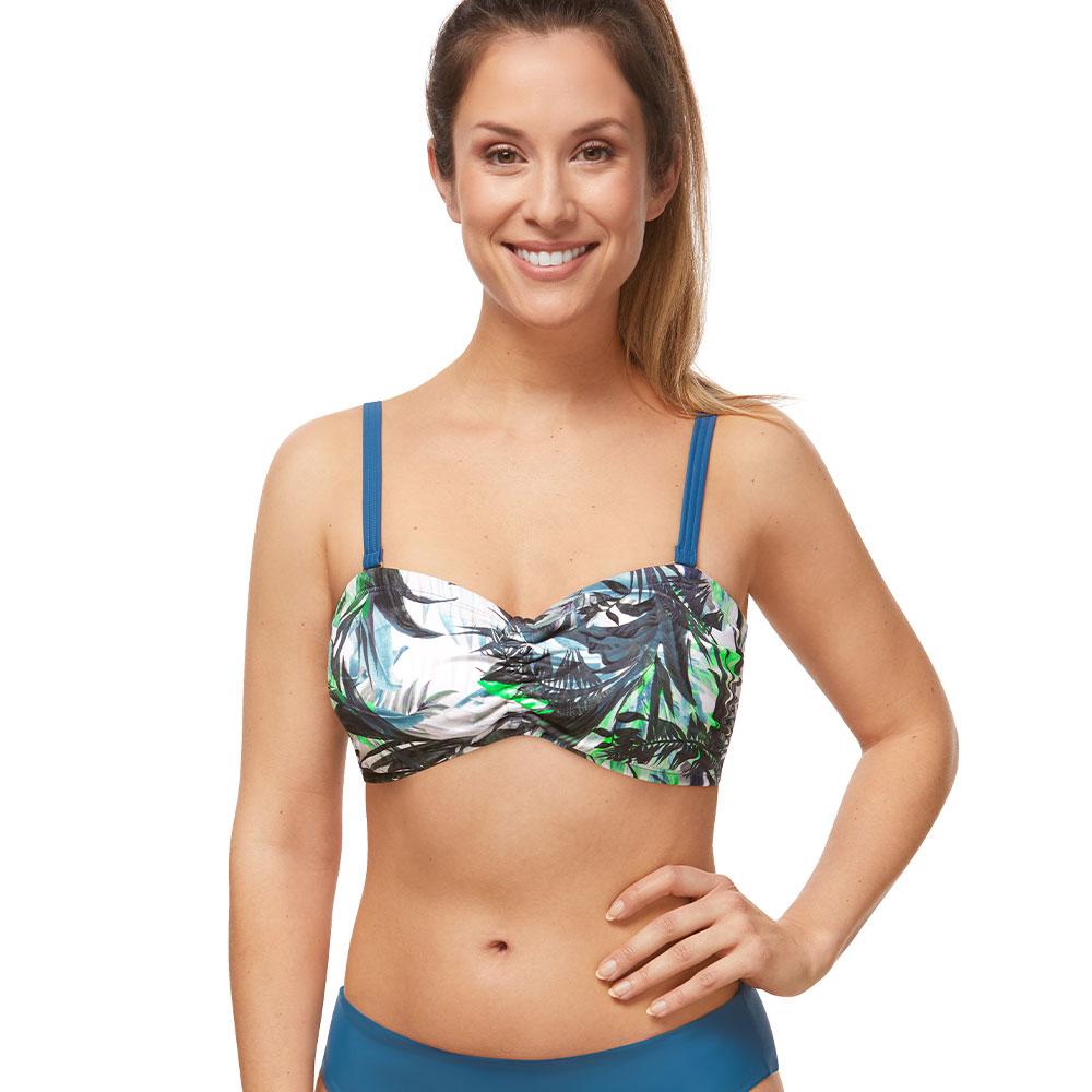 Amoena Modern Jungle Bikinitop blau grün Ansicht Model vorne