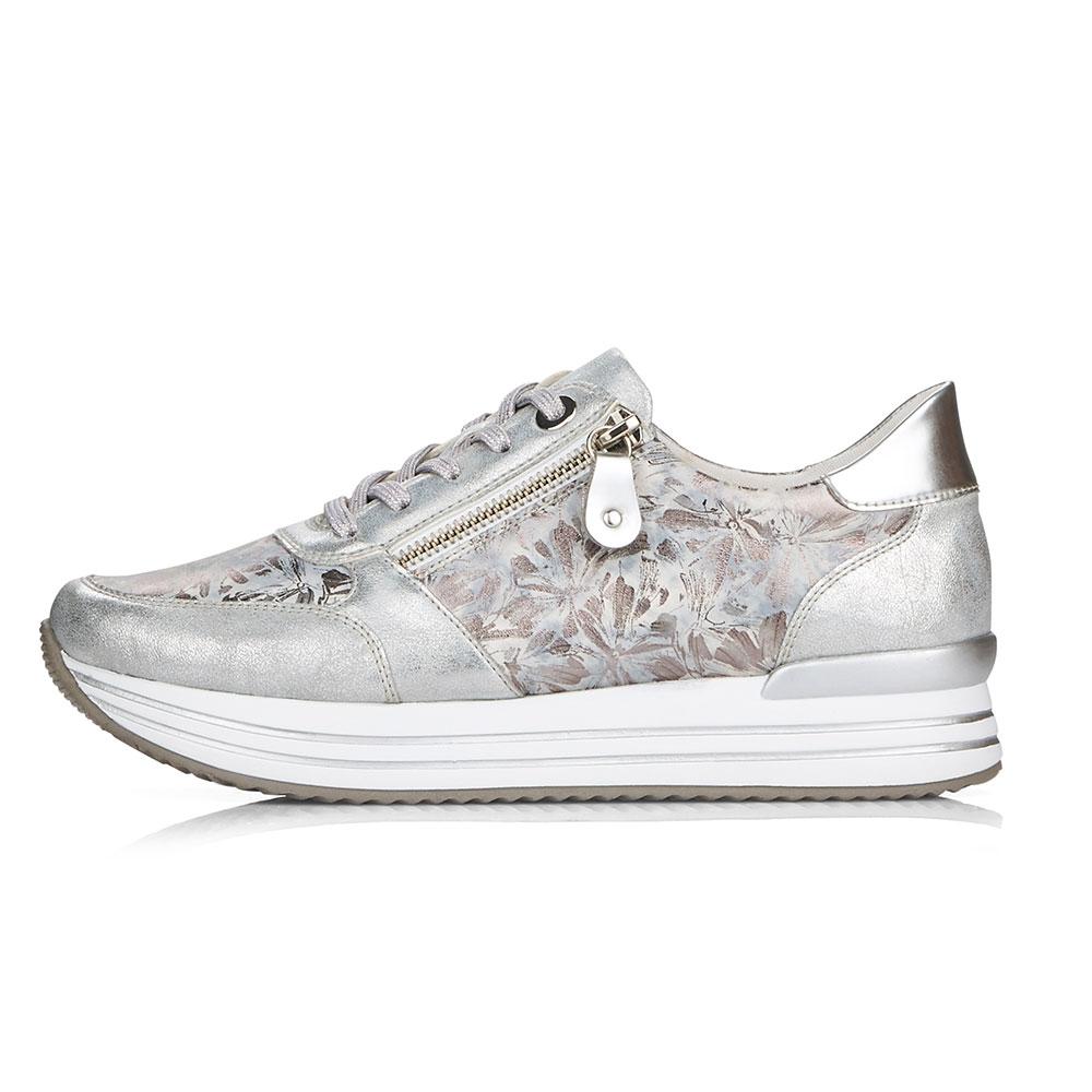 silber| Remonte silberne Sneaker für Damen mit floralem Muster