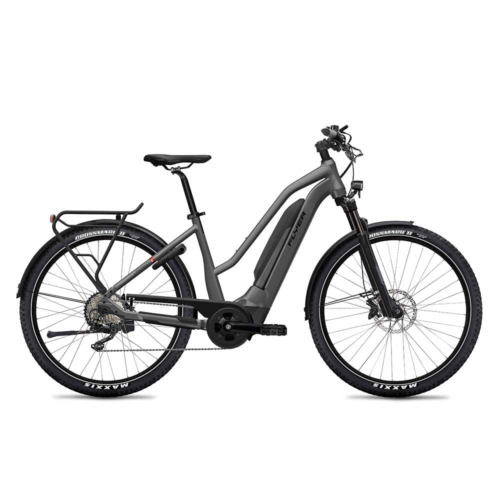 grau| FLYER E-Bike Upstreet5 7.12, Mixed Rahmen (Trapez), Farbe: Anthracite Gloss